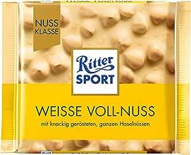 Ritter Sport White Whole Hazelnuts Chocolate Bar Candy Original German Chocolate 100g/3.52oz