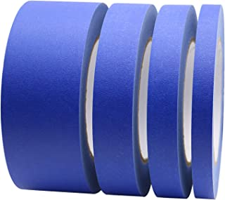 """4 Pack Blue Painters Tape, 1/2"""" 3/4"""" 1"""" 2"""" x 60yds, Multi Size Painting Masking Tape, Clean Release Paper Tape for Home an..."""