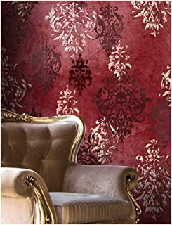 HaokHome 66111 Vintage Red Damask Wallpaper Rolls Crimson Red/Ivory/Brown Retro Textured Wall Decoration 20.8