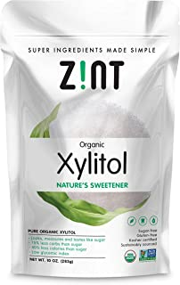 Zint Organic Xylitol Sweetener (10 oz): USDA Certified Natural Sugar Free Substitute, Non GMO, Low Glycemic Index, Measure...