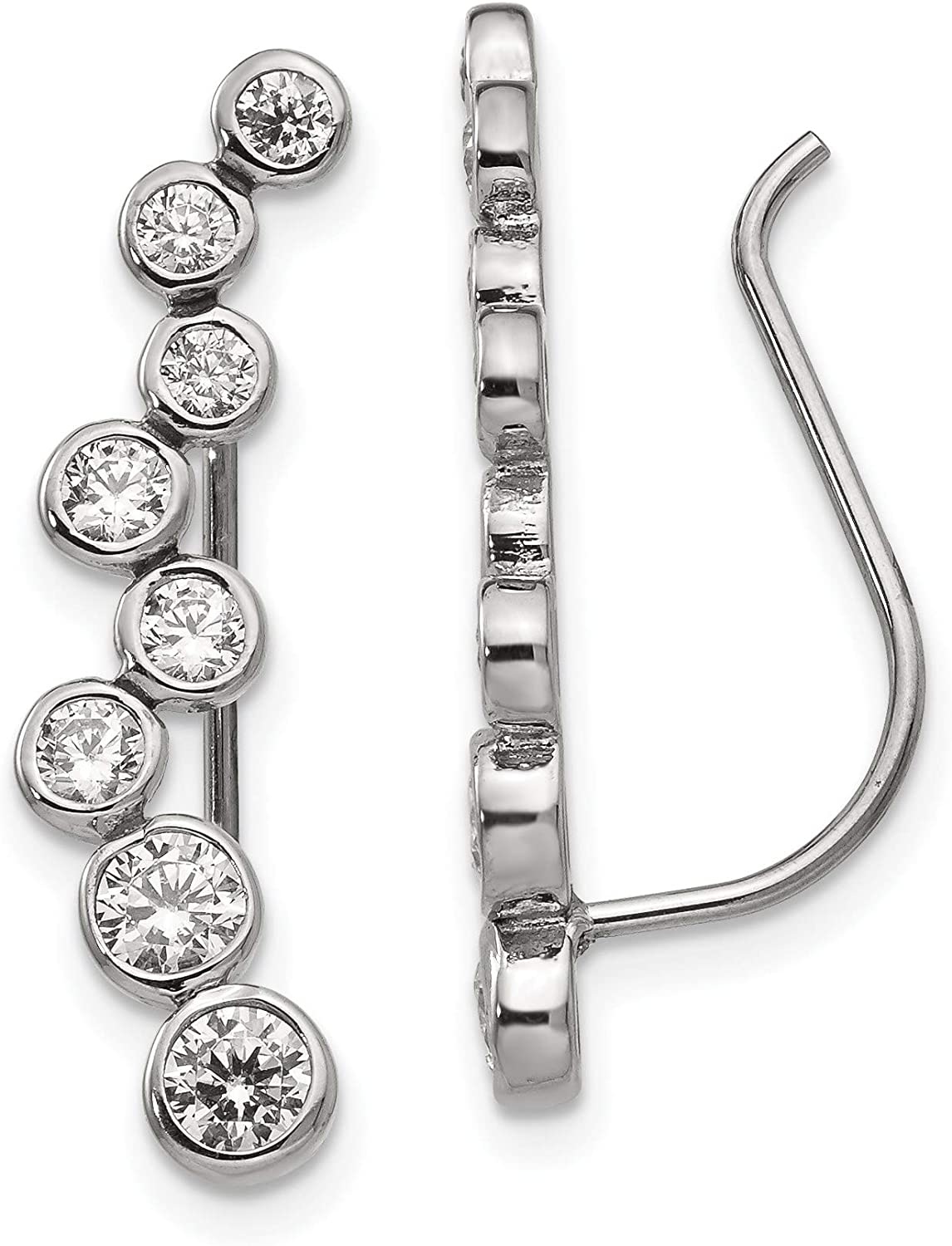 Stainless Steel Polished with Cz Climber Max 68% OFF Women's Ear Climbers Sales