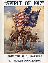 Wee Blue Coo Propaganda War WWI USA Enlist Us Marine Corps Flag Gun Soldier Unframed Wall Art Print Poster Home Decor Premium