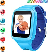 Kids Games Music Camera Smartwatch Phone for Girls Boys Birthday with SOS Call Alarm,1.54 inch Touch Screen Fits for 3-12 Children (RA18_Blue)