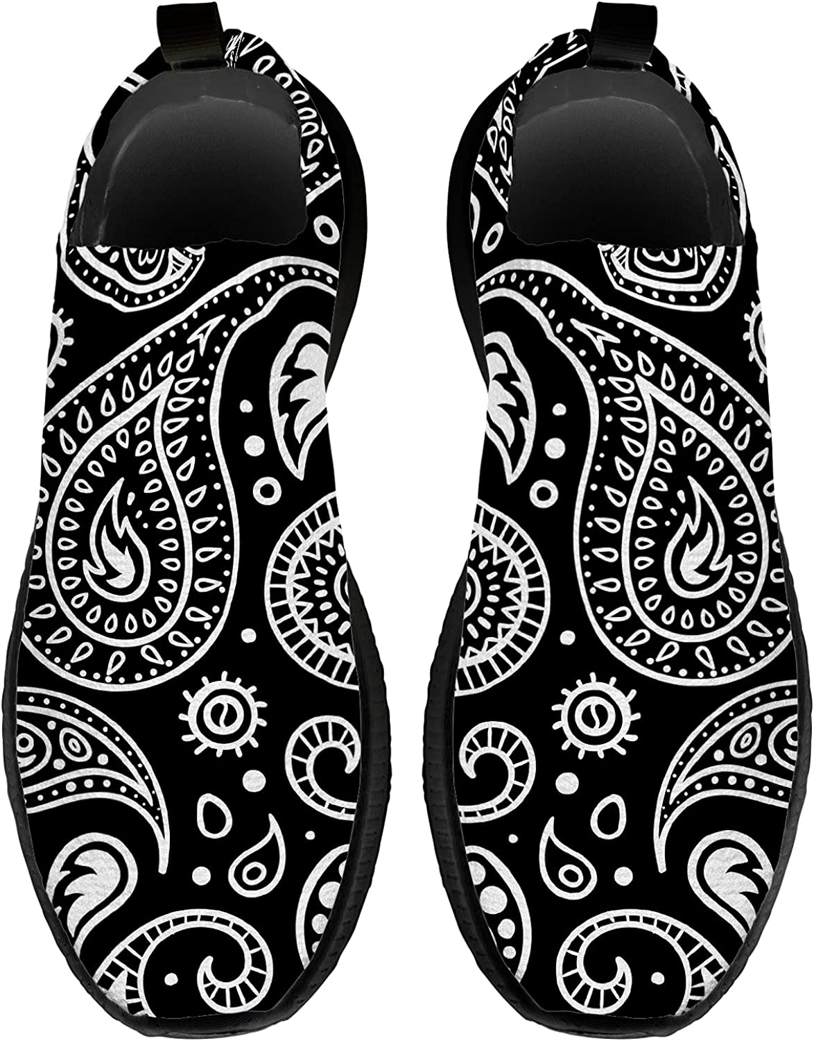 EXCOW Paisley Shoes for Women Men,3D Print Breathable Casual Soc