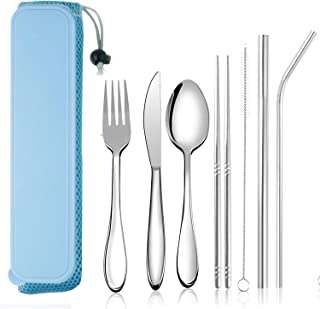 Portable Utensils, Reusable Flatware set with Case, Durable Travel Camping Cutlery Set, 8-Piece including Knife Fork Spoon Chopsticks Cleaning Brush Straws, Stainless Steel (Blue)