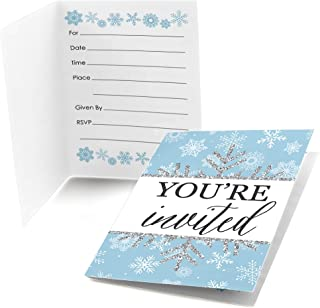 Big Dot of Happiness Winter Wonderland - Fill-in Snowflake Holiday Party and Winter Wedding Invitations (8 count)
