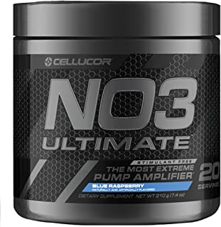 Cellucor NO3 Ultimate Nitric Oxide Supplement, Premier Nitric Oxide Booster & Pump Amplifier For Muscle Growth, Blue Razz,...