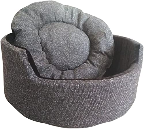 Hiputee Jerry's Edition Super Soft Dual Round Dog/Cat Velvet Bed (Dark Grey and Black, Small)