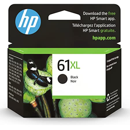 Original HP 61XL Black High-yield Ink | Works with DeskJet 1000, 1010, 1050, 1510, 2050, 2510, 2540, 3000, 3050, 3510; ENVY 4500, 5530; OfficeJet 2620, 4630 Series | Eligible for Instant Ink | CH563WN