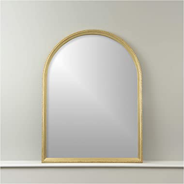 """Best Home Fashion Arch Mirror with Notched Frame - Gold Finish Wood Frame -Wall Hanging - 40"""" L x 30"""" W"""