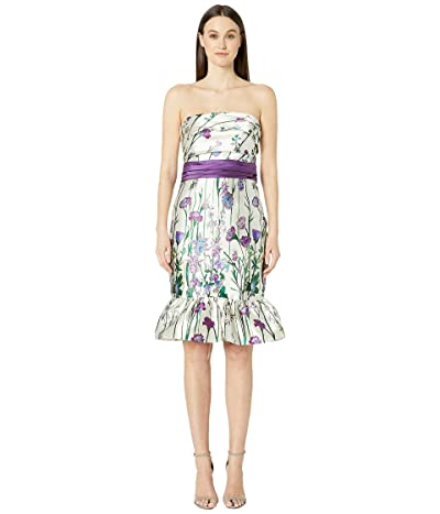 Marchesa Notte Strapless Printed Floral Cocktail (Ivory) Women