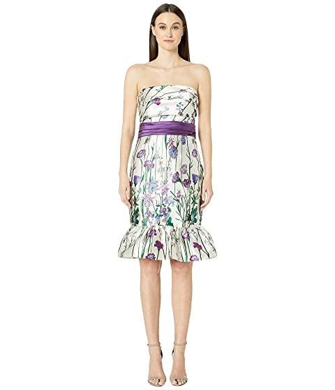 Marchesa Notte Strapless Printed Floral Cocktail