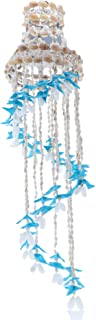 SandT Collection Spiral Shell Wind Chime with Hat Seashell Chimes (Blue)