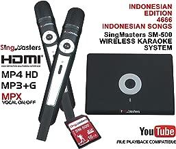 SingMasters Magic Sing Indonesian Karaoke Player,4666+ Indonesian Songs,Dual wireless Microphones,YouTube Compatible,HDMI,Song recording,Karaoke Machine