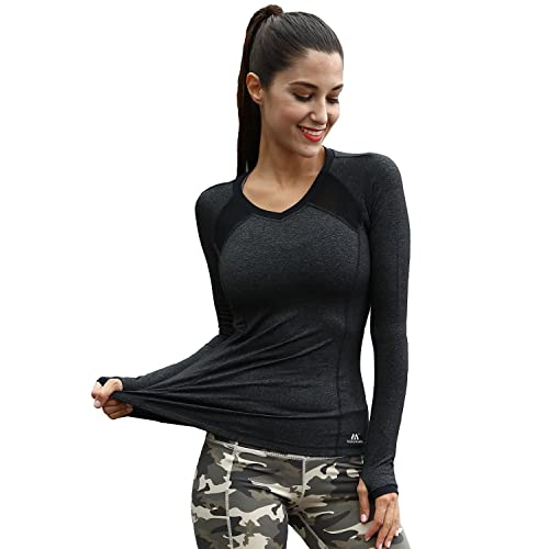 8d846be65a9ab Matymats Women's Workout Tee Tops Long Sleeve Yoga Running Gym Sports T- Shirt Fast Dry