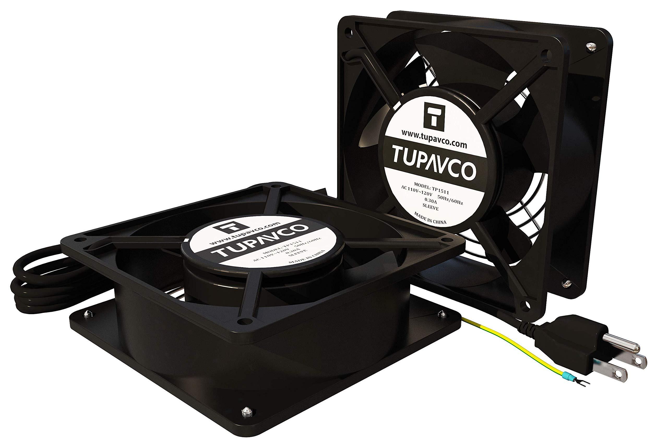 Tupavco Kit de Red de Gabinete Ventilador -Dual 2 Piezas para Servidor para Rack de Acero de ventilación Tranquila con 110V AC Cable a Tierra para Ordenador Equipos- TP1511: Amazon.es: Electrónica