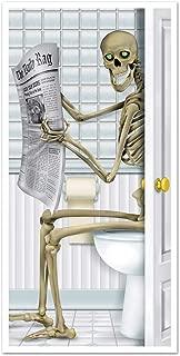 Keepax Halloween Door Sticker, Waterproof 3D Skeleton Newspaper View Self-Adhesive Sticker for Home Decor