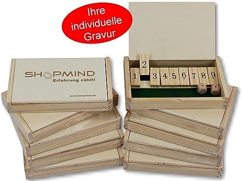 10x Mini 9-er Shut The Box, Würfel - Spiel, mit Logo Gravur, Idee