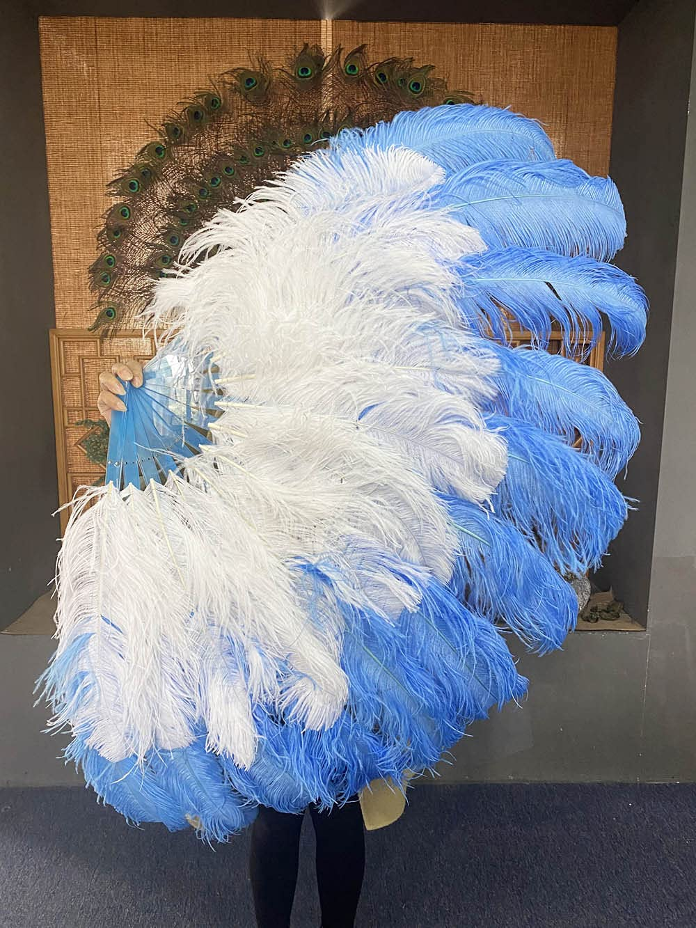 Mix white OFFicial Discount is also underway mail order sky blue XL 2 Layer 60'' Fan w Ostrich 34''x Feather