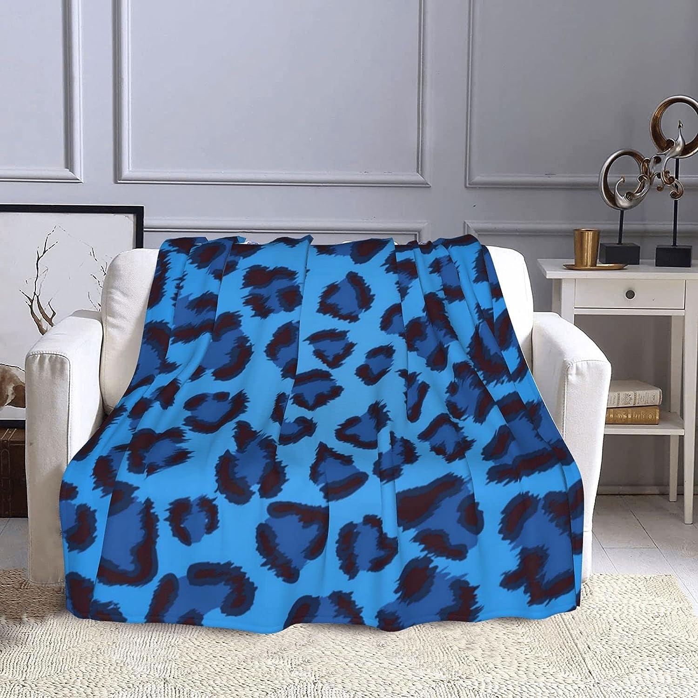 Blue Leopard Same day shipping Throw Blanket Super Air Conditioning SALENEW very popular Bla Soft Warm