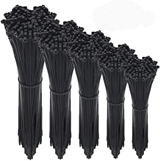 Wire Ties, HMfire 500 Pcs Adjustable & Durable Self-Locking Nylon Zip Cable Ties Heavy Duty, 4/6/8/10/12Inch, 4mm Width, Black