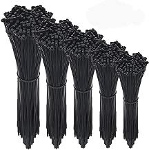 LaiShuo Zip Ties, 500 Pcs Adjustable Durable Self locking Black Nylon Zip Cable Ties for Home Office Garage Workshop Heavy Duty