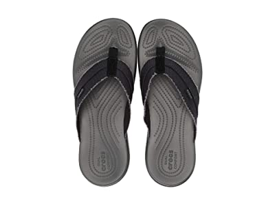 Crocs Santa Cruz Canvas Flip (Black/Slate Grey) Men