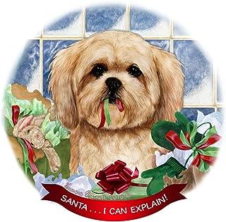 Lhasa Apso Cream Dog Porcelain Ornament Pet Gift 'Santa. I Can Explain!'