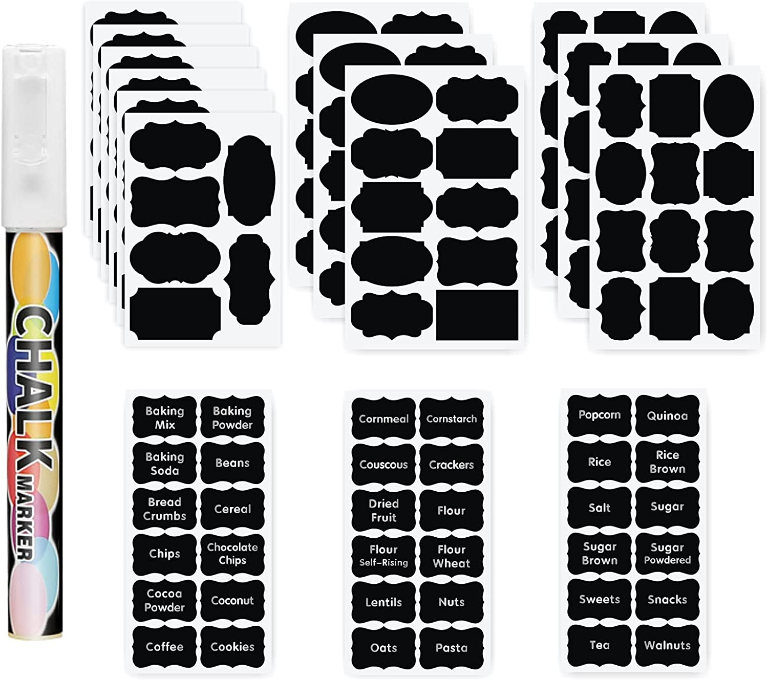 138 Chalkboard Labels Stickers and Pre-Printed Pantry Label, Waterproof Removable Erasable Label Sticker for Jars, Bottles,Mason Jars,Containers,Kitchen Pantry Use (White Chalk Marker)