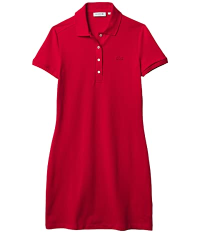 Lacoste Short Sleeve Slim Fit Stretch Pique Polo Dress (Red) Women