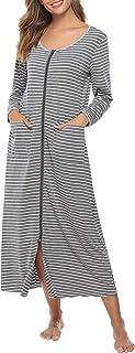 Sykooria Camicia da Notte a Righe Vestaglia da Donna Lunga con Camicia da Notte con Zip Lunga Accappatoio a Righe in Coton...