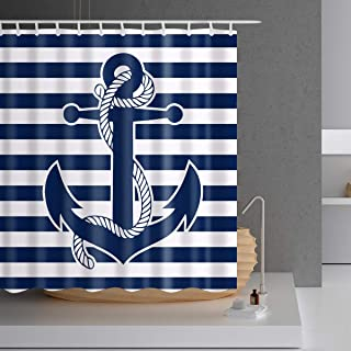 Nautical Navy Anchor Shower Curtain - 78 inch Long Shower Curtain,White and Navy Strip 3D Print Bathroom Shower Curtain with Hooks, Fabric,72x78,Blue