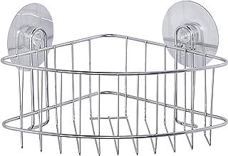 WENKO Static-Loc® étagère d'angle profonde Osimo - fixer sans percer, Acier, 26.5 x 16 x 19 cm, Chromé