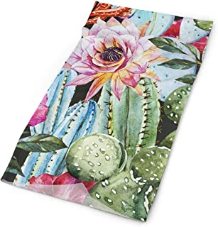 TPSXXY Noble Watercolor Cactus Flower Leaves Face Mask Neck Gaiter Sun Shade Shield Bandanas for Dust Outdoors Sports Festivals