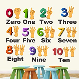 StickMe PVC Vinyl Wall Sticker 'Numbers From 0 To 10 Learning Education Nursery School Kinder Garden for Baby (Multicolou...