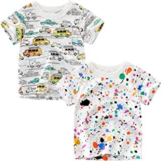 Jagrove Toddler Little Boys T Shirts 2 Pack Short Sleeve Crewneck Top Tee Dinosaur Car Shark Shirts for 2-7 Years