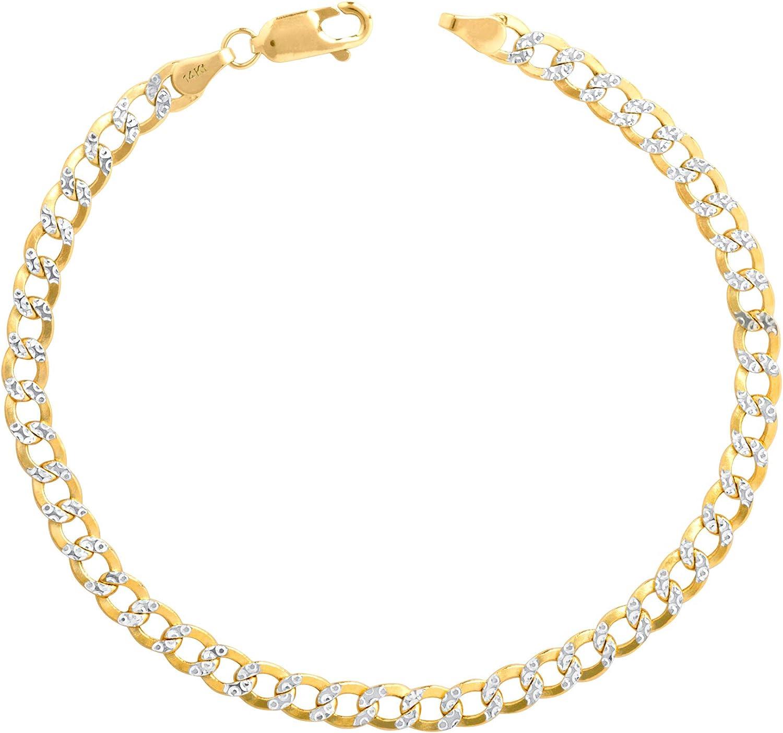 Nuragold 14k Yellow Gold 4.5mm Cuban Chain Curb Link Diamond Cut