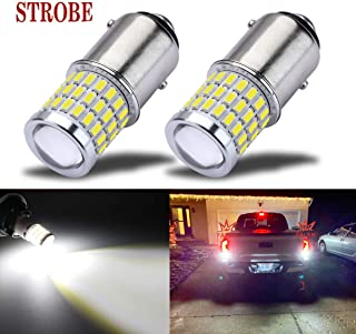 iBrightstar Newest 9-30V Flashing Strobe Blinking Brake Lights 1157 2057 2357 7528 BAY15D LED Bulbs with Projector replacement for Back Up Reverse Lights | Tail 3rd Brake Stop Lights, Xenon White