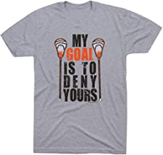Guys Lacrosse Short Sleeve Youth T-Shirt   My Goal is to Deny Yours   Multiple Colors   Youth Sizes
