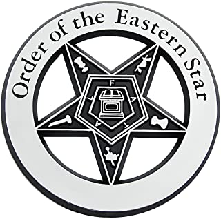 "Order of the Eastern Star Chrome Finish ABS Plastic Masonic Auto Emblem - 3"" Diameter"