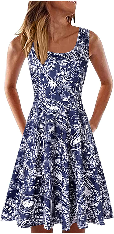 Dress for Women, Beach Skirt Tank Top Dress Casual Mini Skirt Boho Dress U Neck Print Loose Elegant
