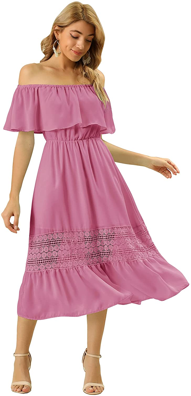 Allegra K Women's Off Shoulder Ruffle Lace Insert High Waist Short Sleeve Flowy Midi Dress