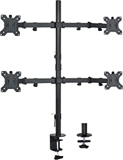 VIVO Quad Monitor Desk Mount, Heavy Duty Stand, Full Adjustable Arms and Grommet Mounting Option | Holds 4 Screens up to 30 inches (STAND-V004)