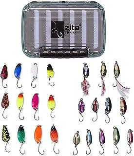 Zite Fishing duży asortyment błystek na pstrągi – 24 przynęty UL na pstrągi i praktyczne pudełko na przynęty w zestawie