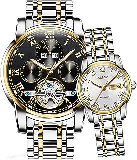 Aesop Luxury Skeleton Men Women Day Date Analog Automatic Self Winding Mechanical Wrist Watch Set with Steel Band Luminous Waterproof (Men Silver Gold Black Women Silver Gold White)