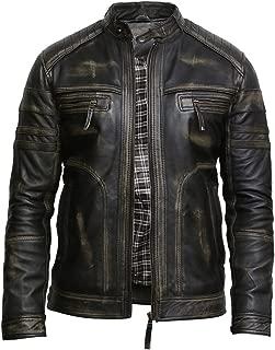 Mens Genuine Leather Biker Jacket Vintage Retro