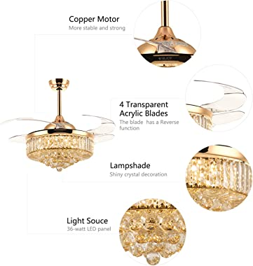 Reverse Crystal Ceiling Fans with Light and Remote LED Dimmable Fandelier, Siljoy Modern 48 Inches Invisible Retractable Ceil