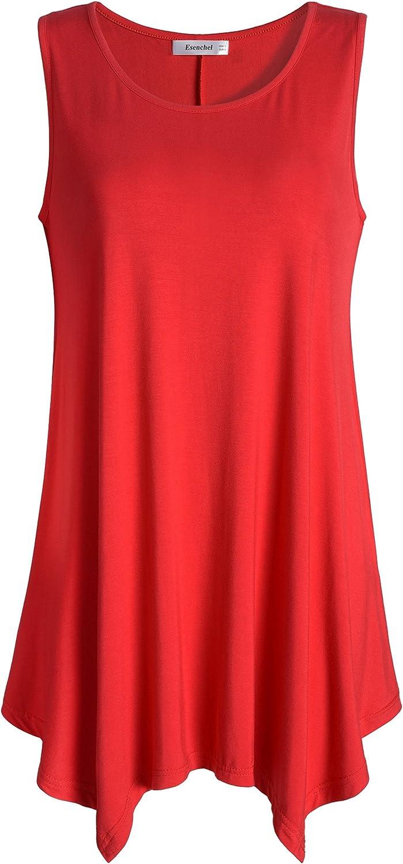 Esenchel Women's Flowing Tunic Tank Top Sleeveless Loose Shirt