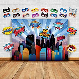 Wonder Woman and Other Superheroes Cityscape Photography Backdrop, Studio Props & Mask. Great as Super Hero City Photo Boo...