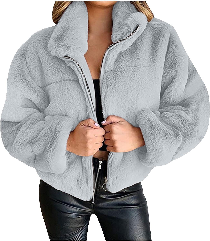 Women Fleece Open Front Full-Zip Jacket Cardigan Jacket Coat Outwear Lapel Faux Fur Zip Up Fleece Teddy Coat Casual Fall